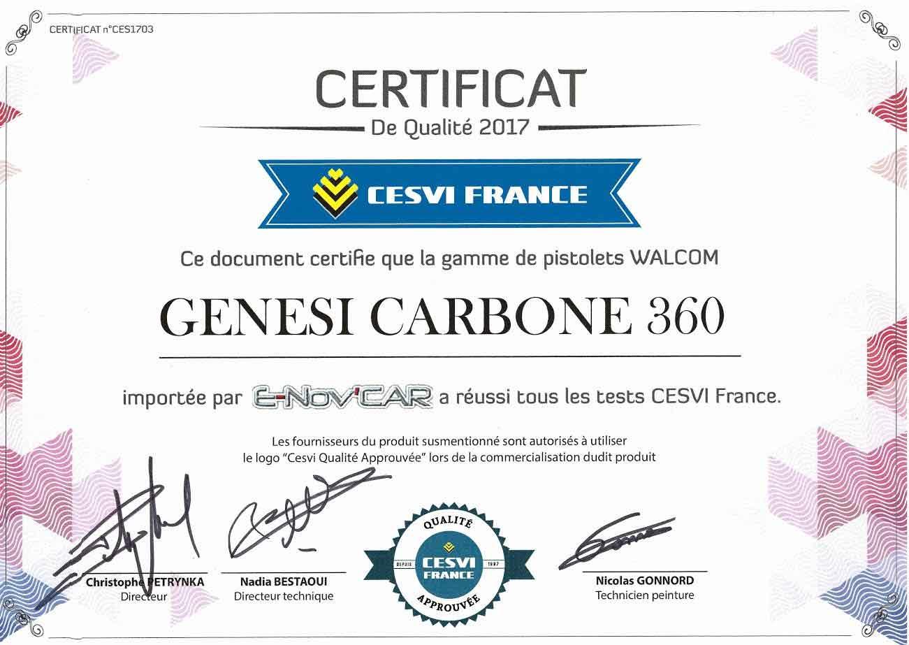 certificat CESVI pistolet peinture genesi carbone